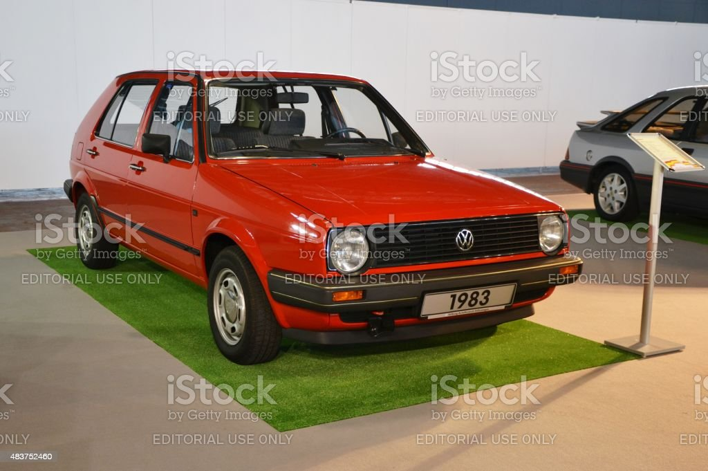 Classic Volkswagen Golf on the motor show stock photo