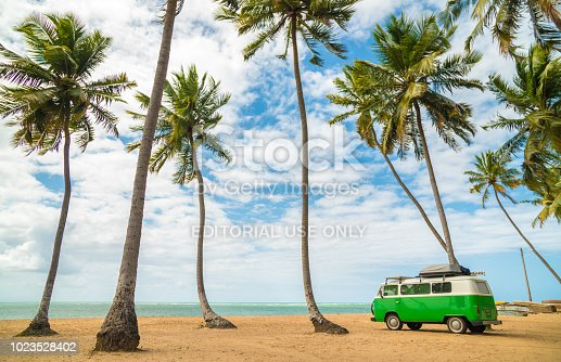 Japaratinga, Alagoas, Brazil - August 21: Volkswagen Kombi Van during a trip parks in Japaratinga beach.