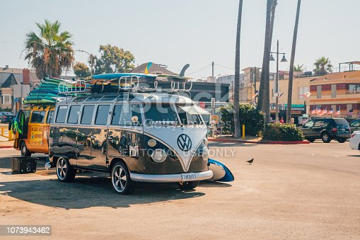 Venice beach, Los Angeles, USA - March 15, 2015: A classic Volkswagen Van full with surf boards parked at the Venice beach in Los Angeles.