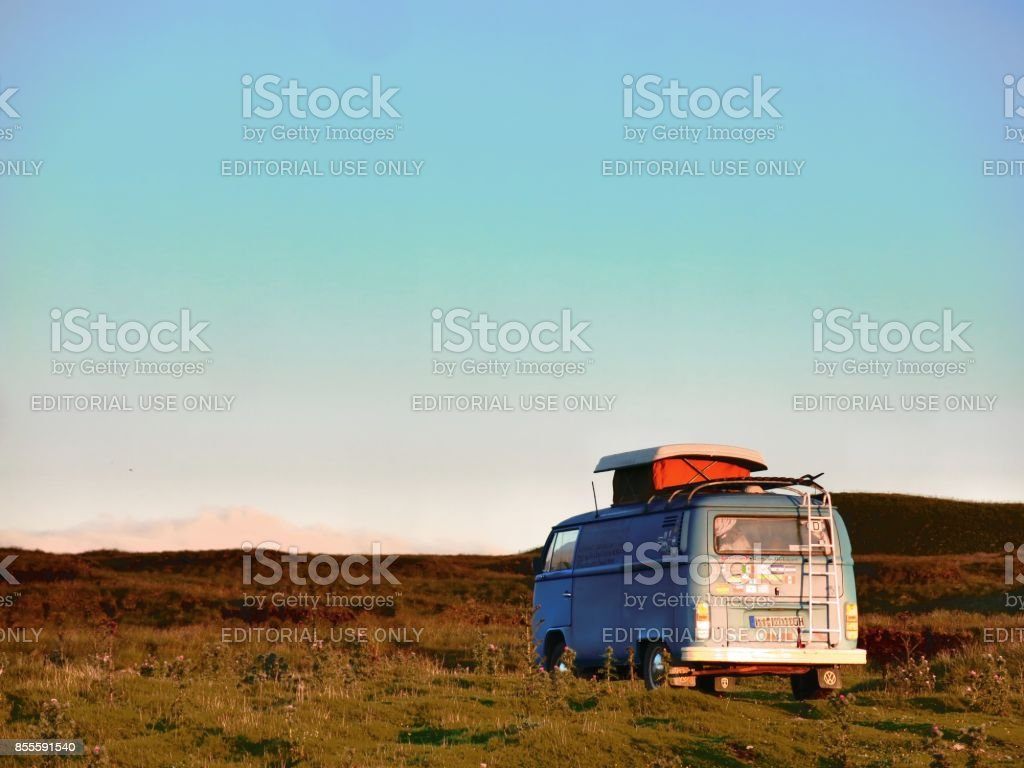 Classic VW Bus camping while sunset in Yorkshire Dales National Park stock photo