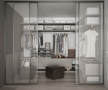 Classic Walk In Closet With Glass Sliding Doors Stock Photo - Download Image Now