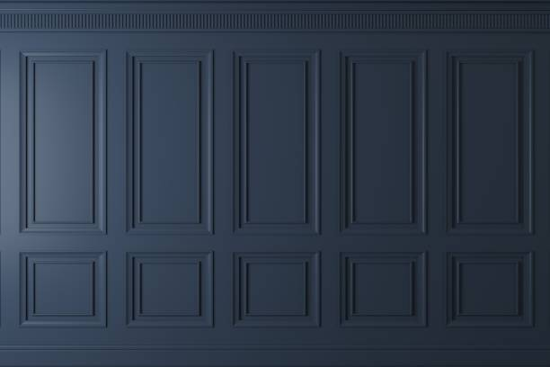 Classic wall of dark wood panels 3d illustration. Classic wall of dark wood panels. Joinery in the interior. Background. building feature stock pictures, royalty-free photos & images