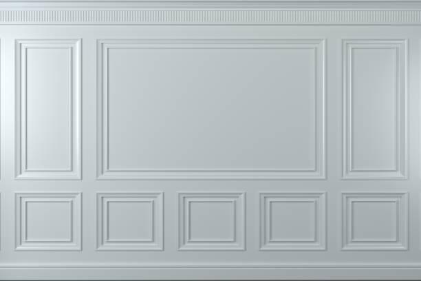 klassiska väggen i vit trä paneler. design och teknik - kontrollpanel bildbanksfoton och bilder