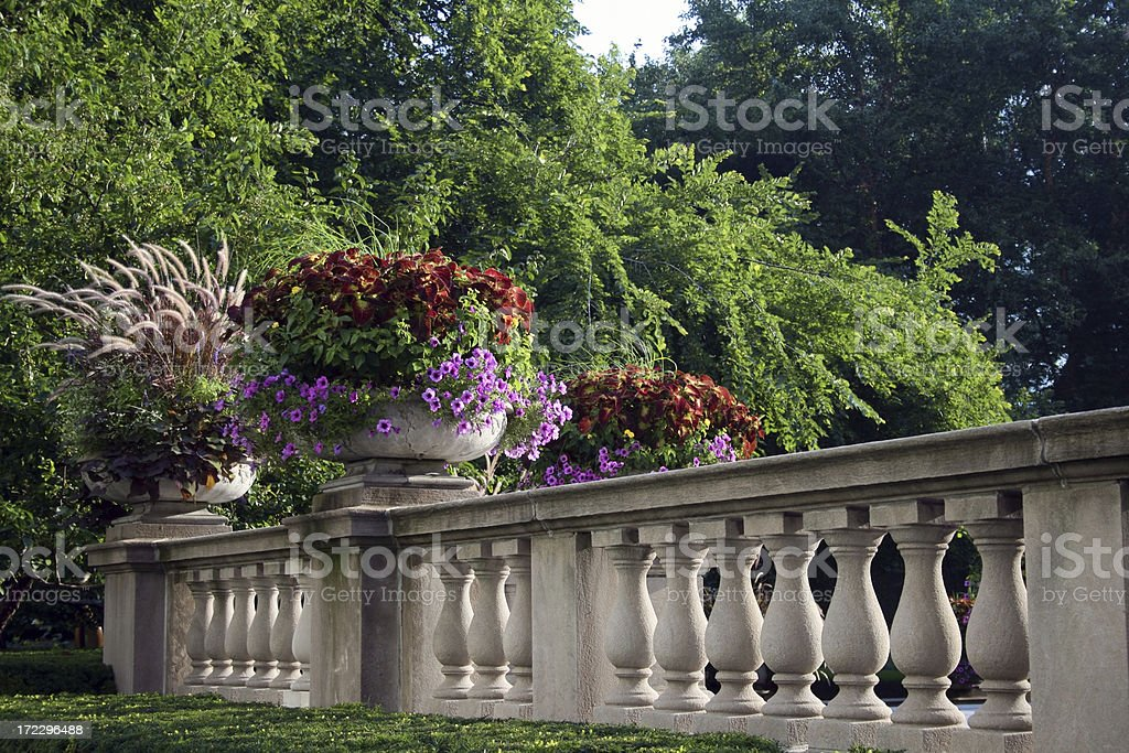 Classic wall with two flower pots royalty-free stock photo
