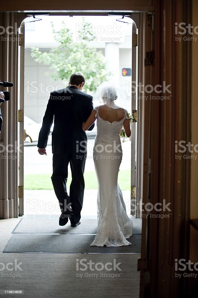 Classic Wedding Couple Depart for their Honeymoon royalty-free stock photo