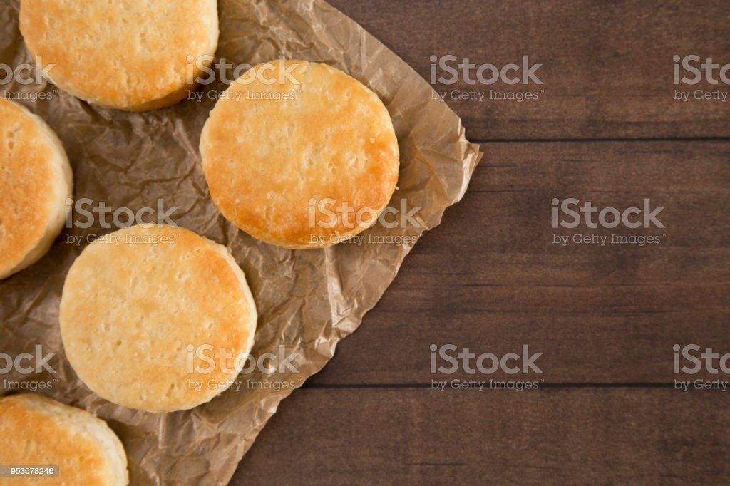 Classic White Biscuits on Baking Paper stock photo