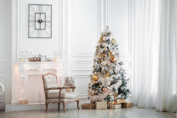 classic white christmas interior - decorating stock photos and pictures