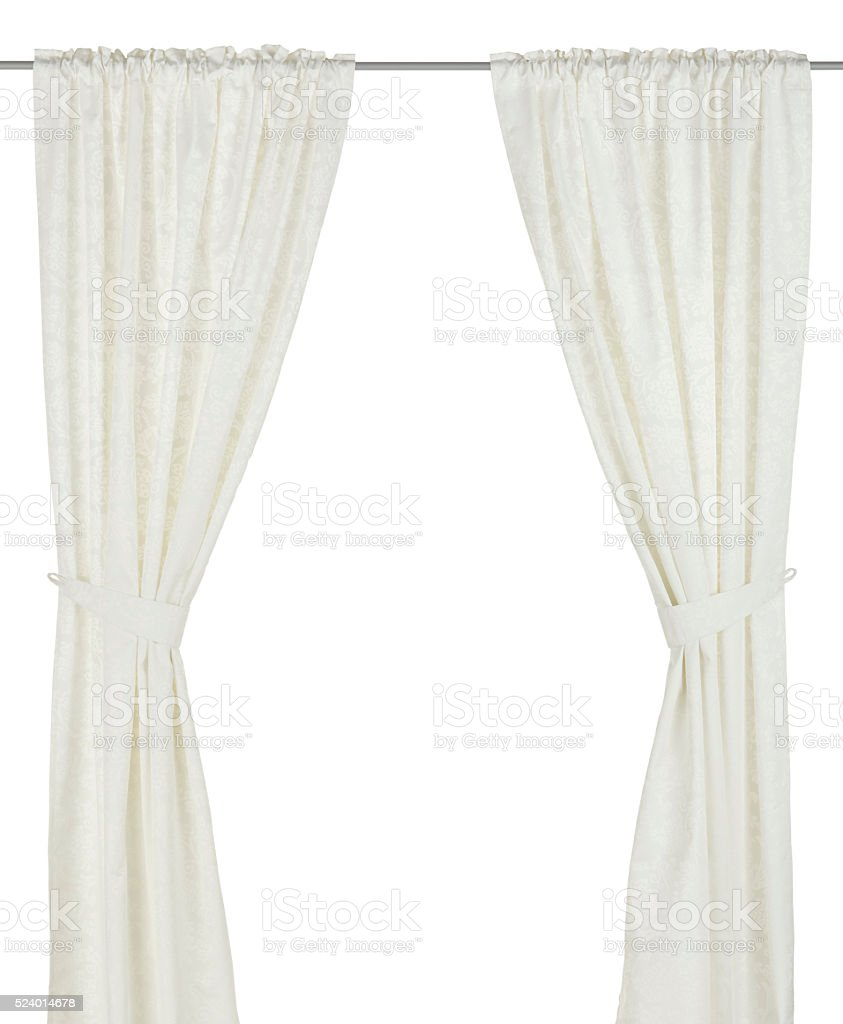 Classic white curtain. stock photo