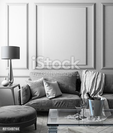 istock Classic white interior mock up with sofa, glass table, ottoman, pillows, plaid, lamp, vase. 3d render illustration. 831049744