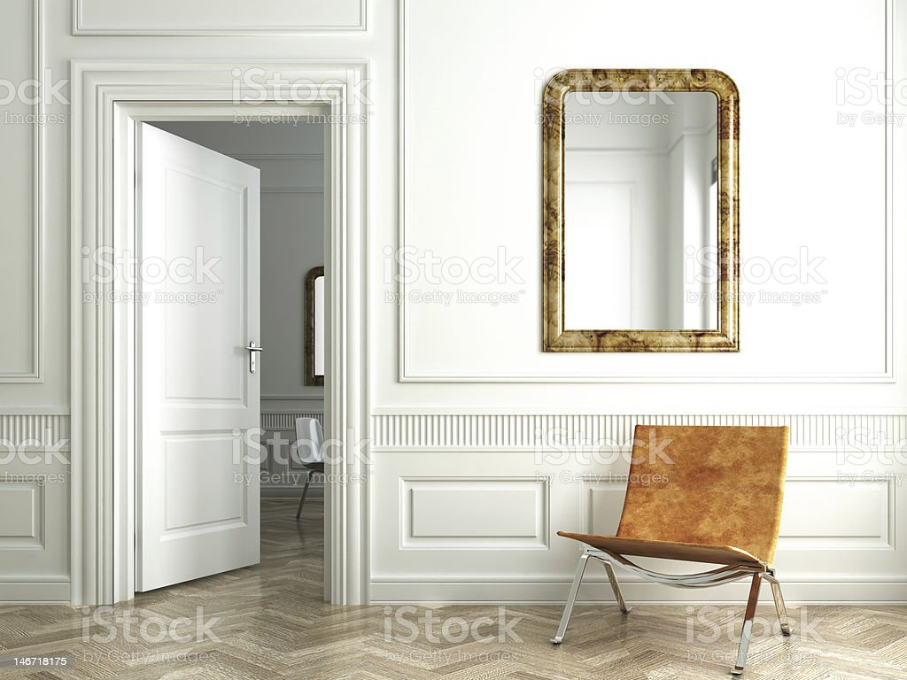 classic white interior whit mirrors stock photo
