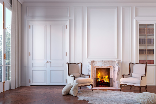 Classic white interior with fireplace, armchairs, carpet, moldings, wall pannel. 3d render illustration mock up.