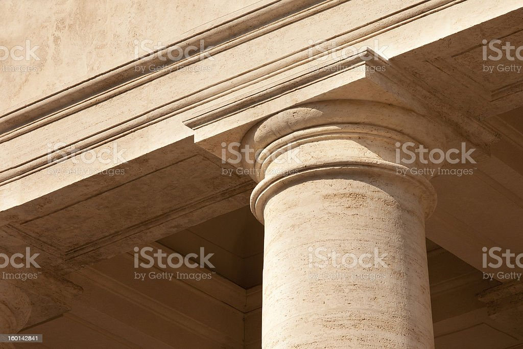 Classic white marble column top detail with architrave stock photo