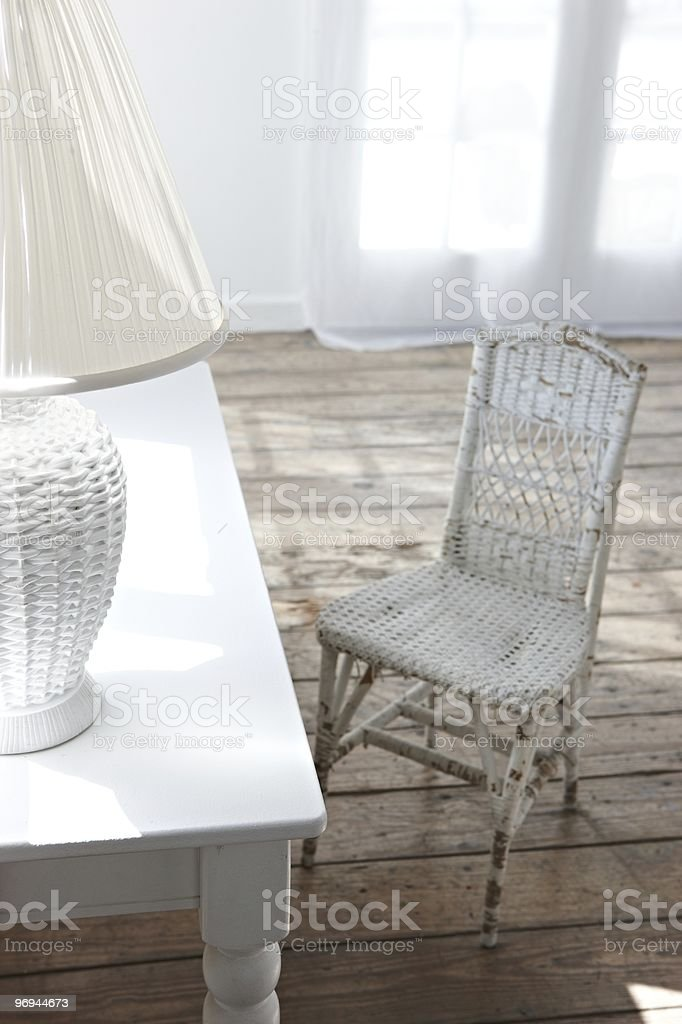 classic white working table and chair royalty-free stock photo