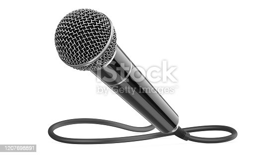 istock Classic wired microphone as a concept for karaoke, radio broadcasting and sound recording. 3D rendering illustration of a black mic with cable isolated on a white background 1207698891