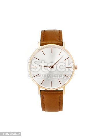 istock Classic women gold watch white dial, brown leather strap isolate white background 1137734425