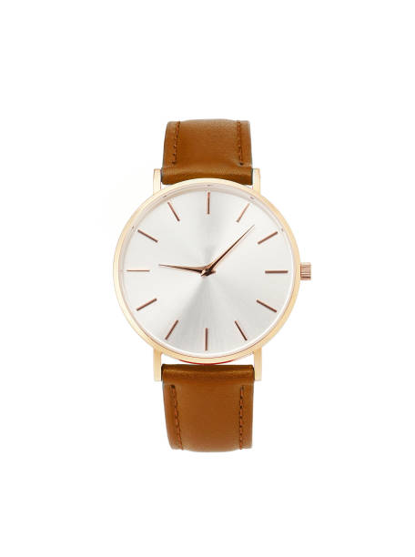 Classic women gold watch white dial, brown leather strap isolate white background Classic women's gold watch with white dial, brown leather strap, isolate on a white background. Front view. wristwatch stock pictures, royalty-free photos & images