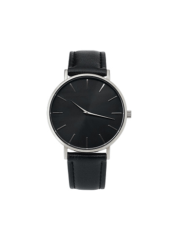 istock Classic women silver watch black dial, leather strap, isolate on white background 1137734497