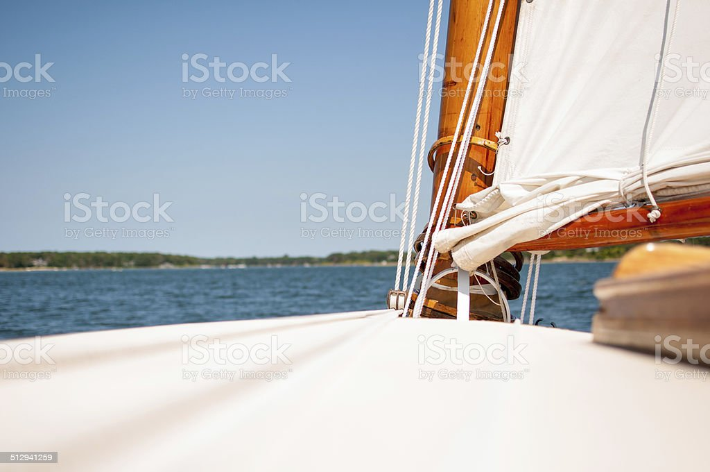 Classic Wooded Sailing Boat front Deck stock photo