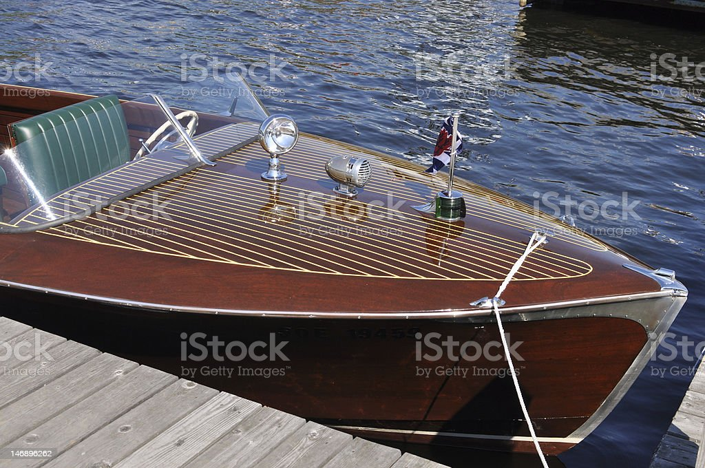 Classic wooden boat royalty-free stock photo