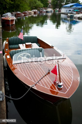 Chris Crafts and Garwoods mix among other classic wooden boats at a show in Sandpoint, Idaho.
