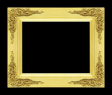 검은 배경 골드 컬러에 고립 된 고전적인 나무 프레임 갈색에 대한 스톡 사진 및 기타 이미지