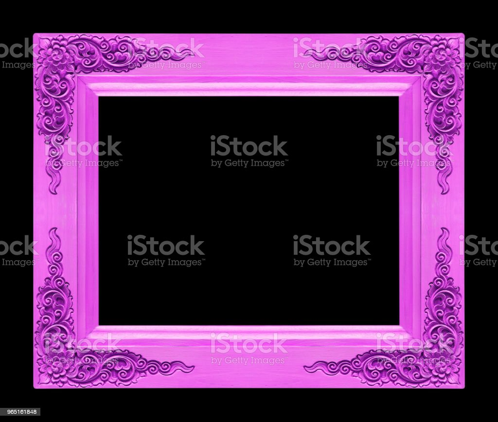 Classic wooden frame isolated on black background, purple color zbiór zdjęć royalty-free
