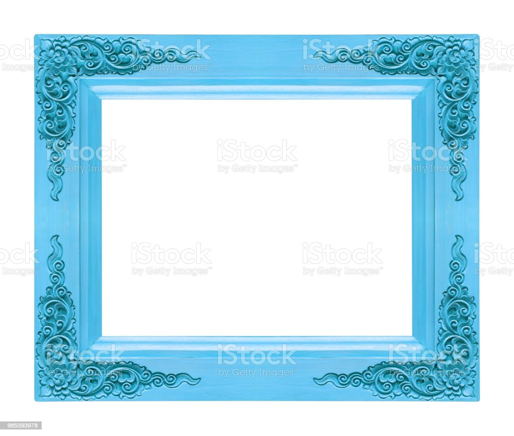 Classic wooden frame isolated on white background, blue color zbiór zdjęć royalty-free