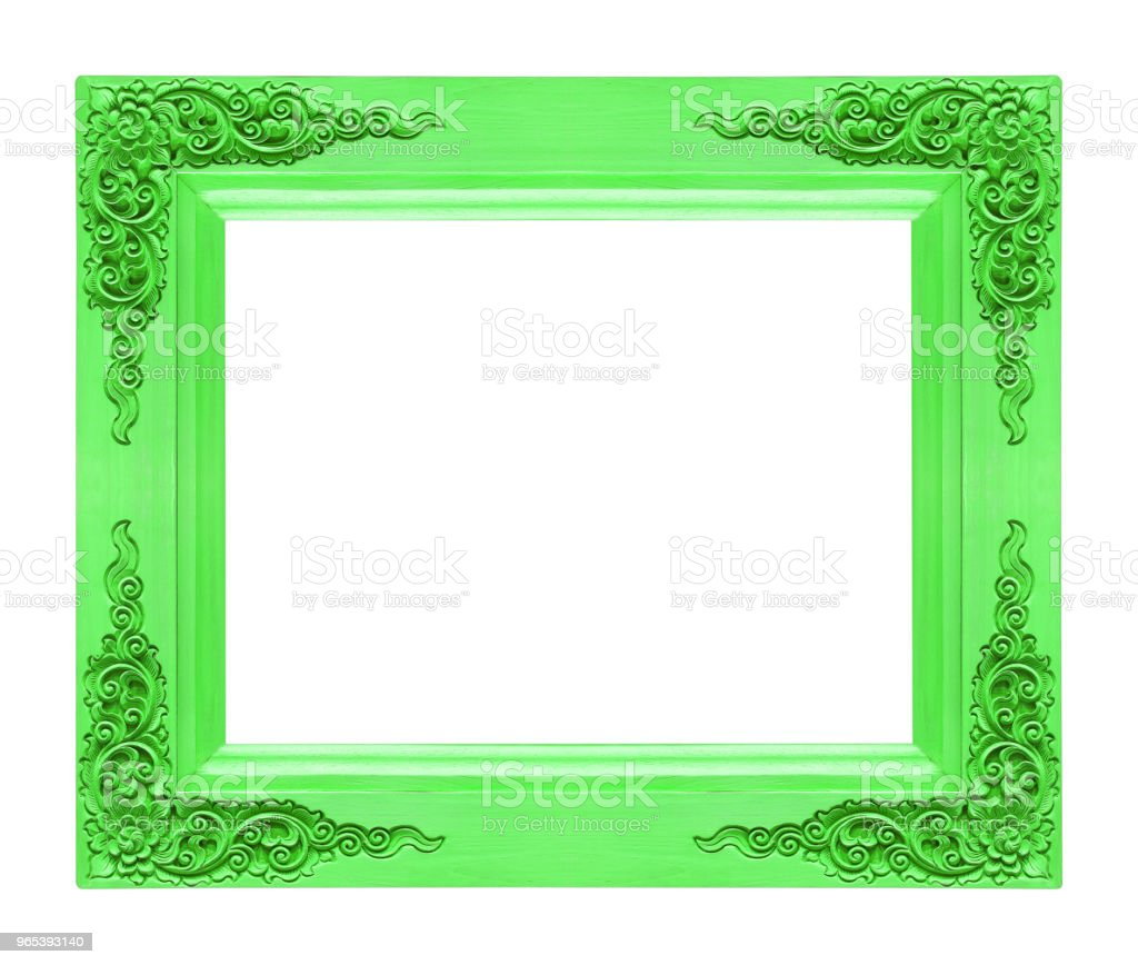Classic wooden frame isolated on white background, green color zbiór zdjęć royalty-free