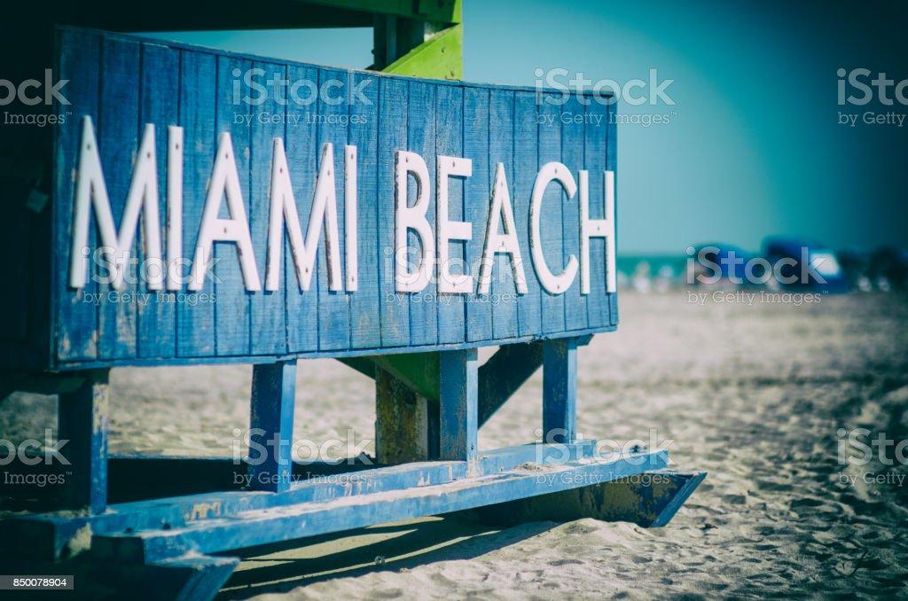 Classic Wooden Lifeguard Hut Miami Beach stock photo