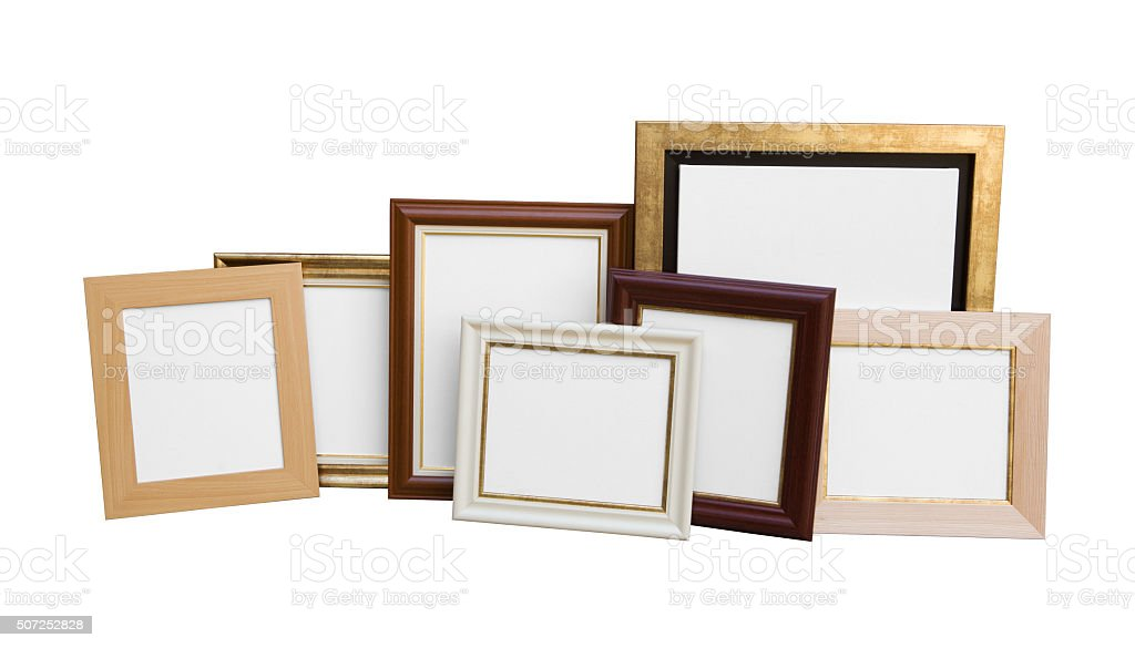 Classic Wooden Picture Frames With Blank Canvas Isolated On White ...