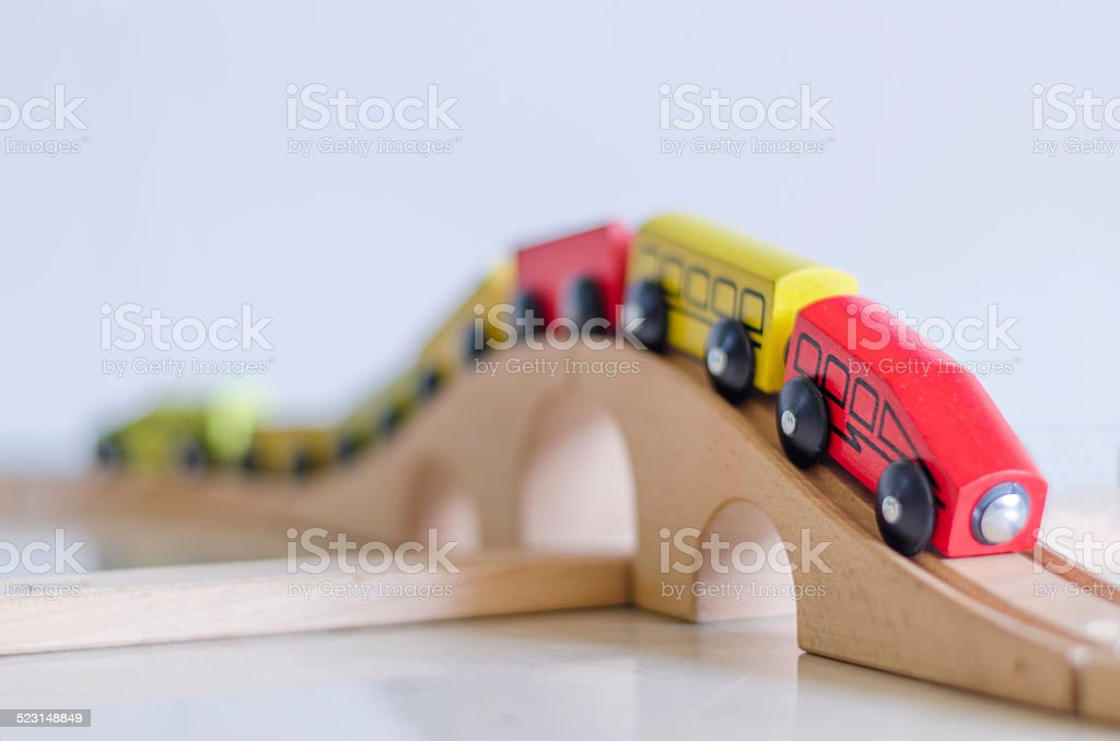 Classic Wooden Toy Train stock photo