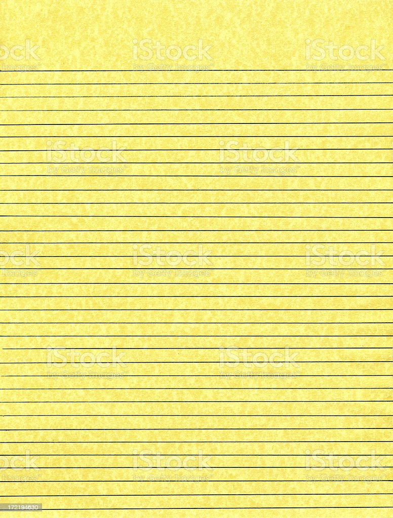 Classic Yellow Lined Paper royalty-free stock photo