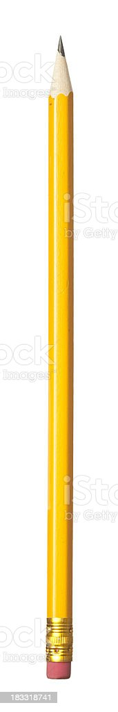 Classic yellow pencil with eraser tip. stock photo