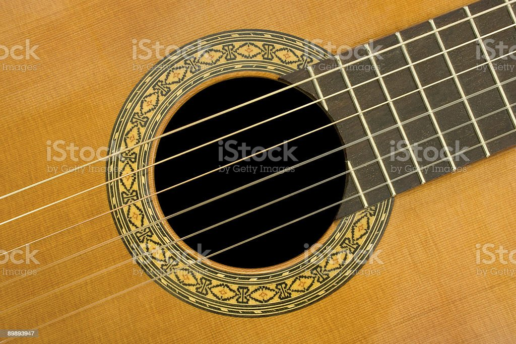 Classical acoustic guitar, close-up royalty-free stock photo