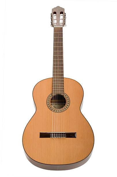 Klassische akustische Musik Gitarre, isoliert auf weißem Hintergrund – Foto