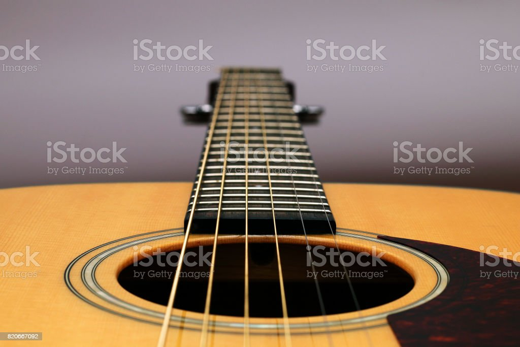 Classical acoustic guitar on a white background stock photo