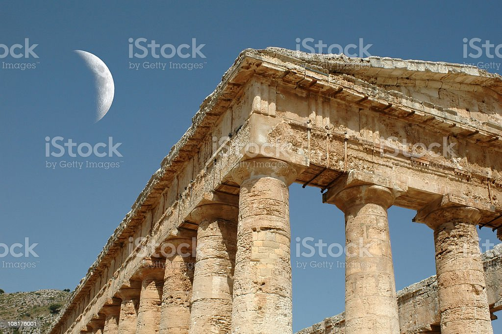 Classical Ancient Greek Segesta Temple in Sicily stock photo