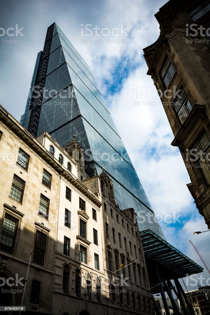 Classical and modern in Leadenhall Street in London financial district royalty-free stock photo