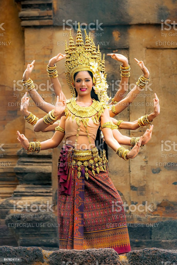 Classical and traditional Cambodian dance. stock photo
