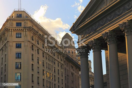Corinthian greek classical architecture and buildings corner in Plaza de mayo, Buenos Aires Metropolitan Cathedral, Argentina