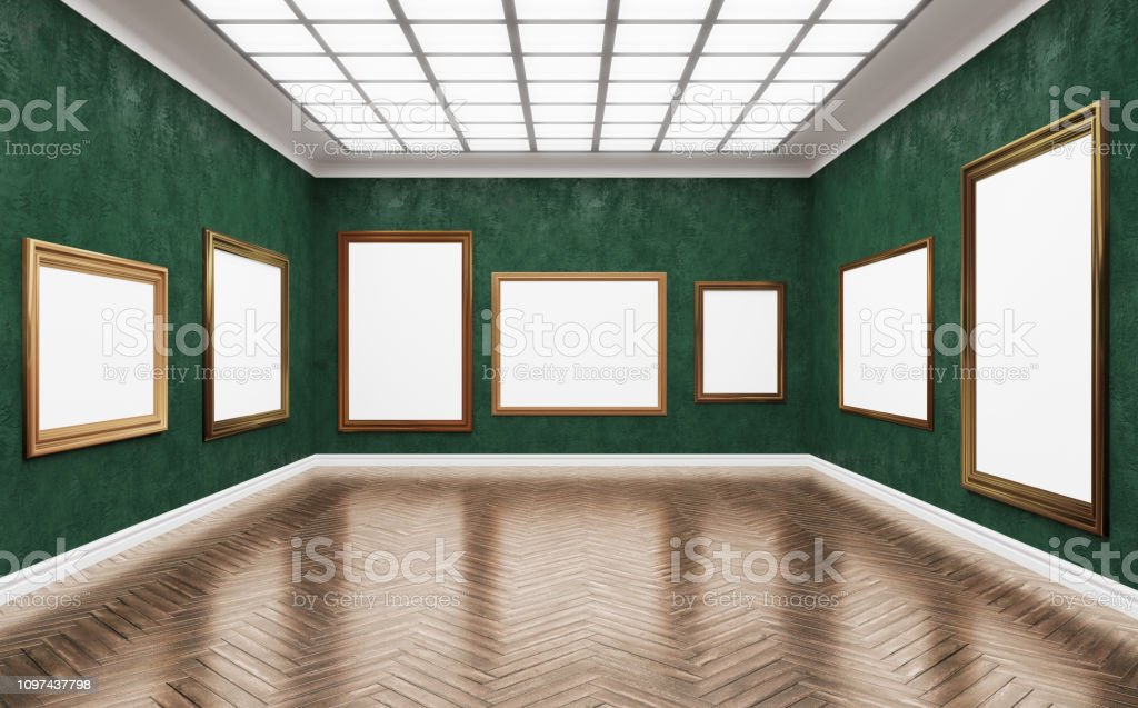 3d rendering illustration of classical gallery dead end. Fine art...