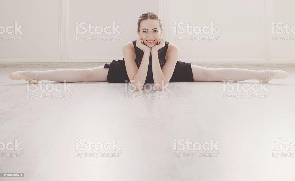 Classical Ballet dancer in split portrait stock photo