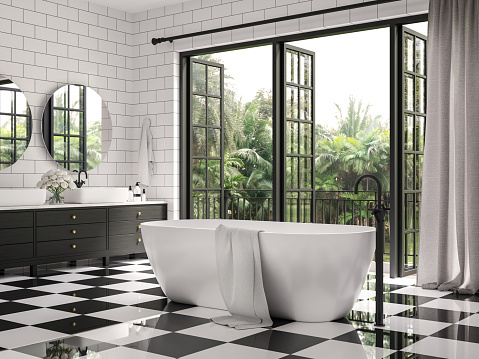 Classical bathroom 3d render,There are checker floor tile and white wall tile with brick pattern,Decorate with black wood cabinet ,Rooms have large open windows, overlook terrace and nature view.