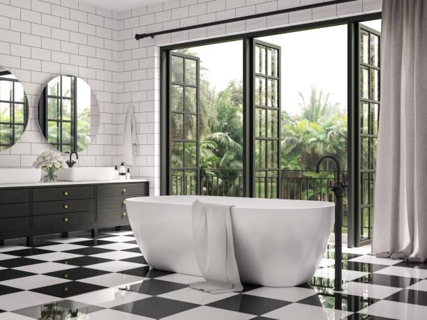 Classical bathroom with checker floor tile 3d render stock photo