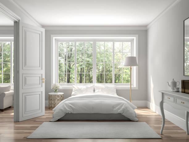 klasyczna sypialnia i salon 3d render - okno zdjęcia i obrazy z banku zdjęć