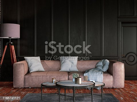 Living room with black wall panels and furnitures