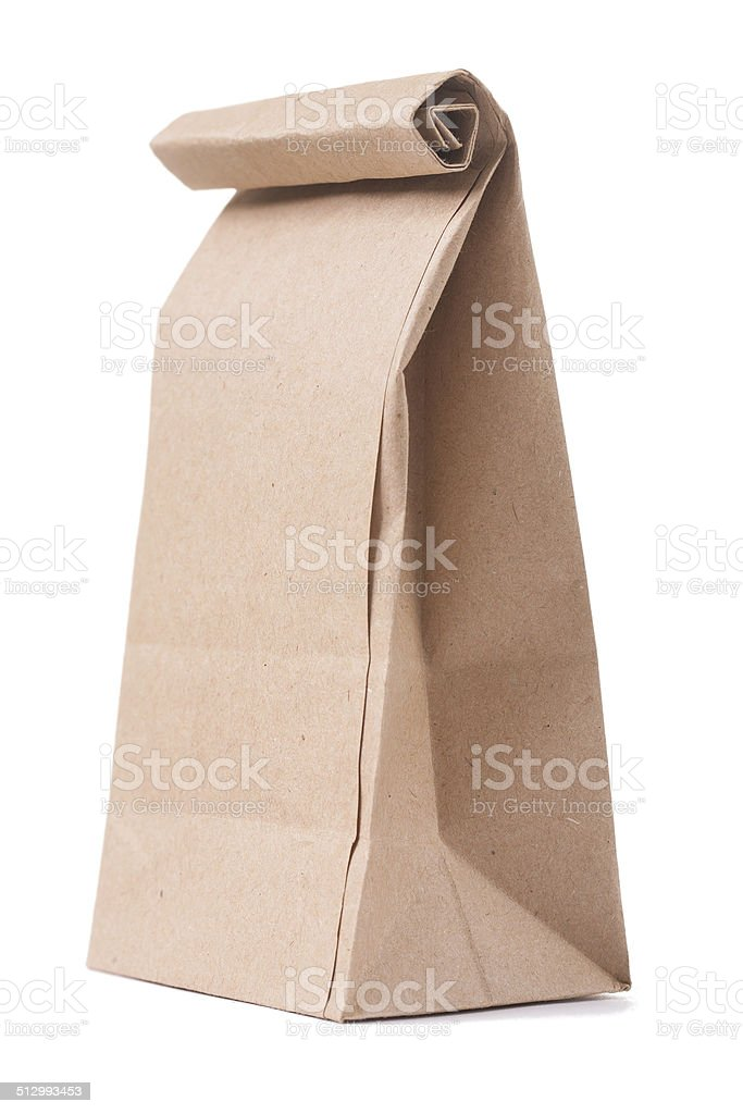 classical brown paper bag isolated on white background stock photo