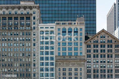 Facade of classical buildings on Michigan Avenue, Chicago, Illinois