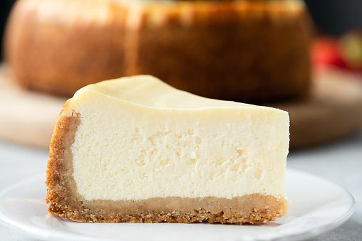 Classical Cheesecake On Plate Closeup View. New York Cheesecake