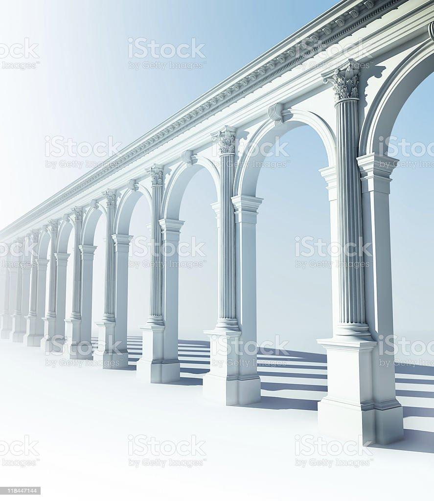 Klassische colonnade mit korinthischen Säulen und Galerien – Foto